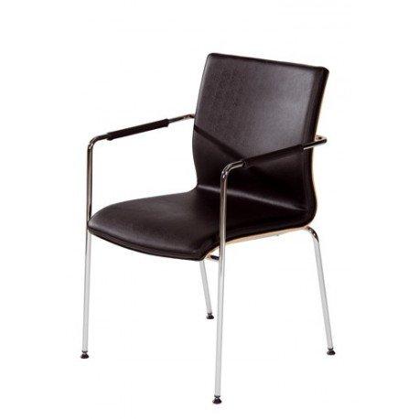 Chaise de réunion en cuir et bois Wood