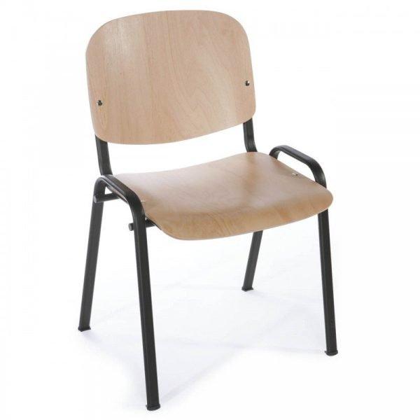 Chaise d'accueil en bois hêtre naturel verni
