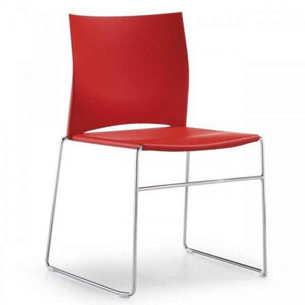 Chaise d'accueil colorée empilable LINO