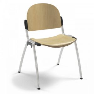 Chaise d'accueil en bois hêtre naturel DIAM-B